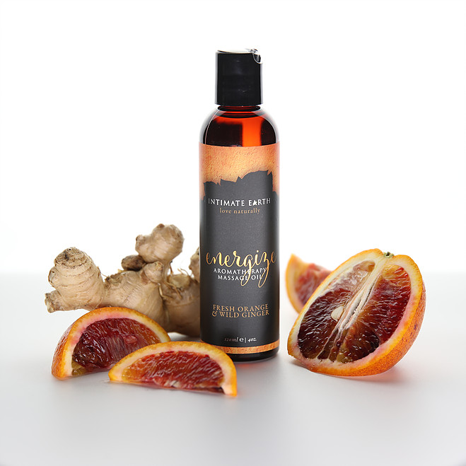 Intimate Earth Aromatherapy Massage Oil-Fresh Orange-Wild Ginger