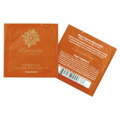 Sliquid Organics Massage Oil Pillow Pac Sampler-Rejuvenation-Mandarin Basil-5ml