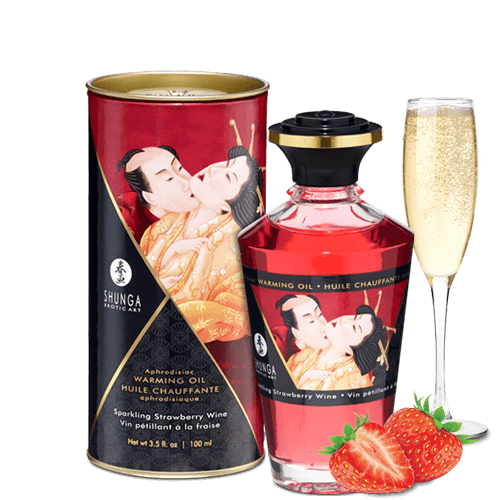 Shunga Warming Massage Oil-Strawberry Wine